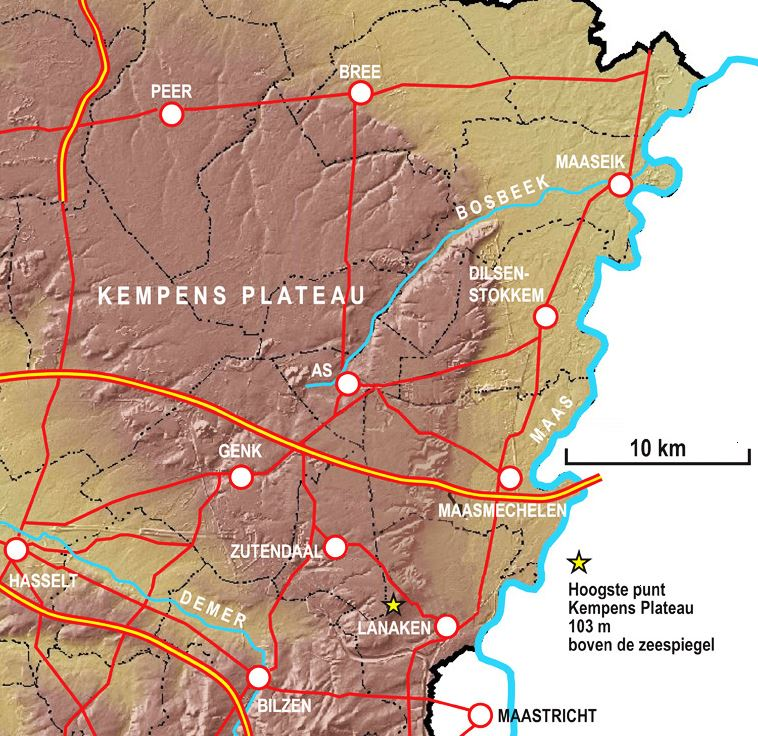 Reliëfkaart Kempens Plateau