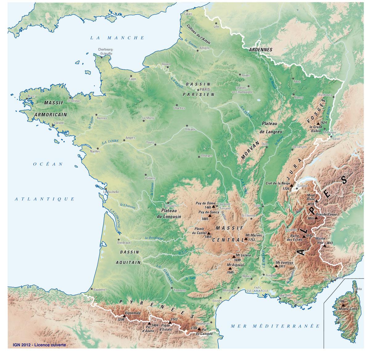 Reliëfkaart Frankrijk
