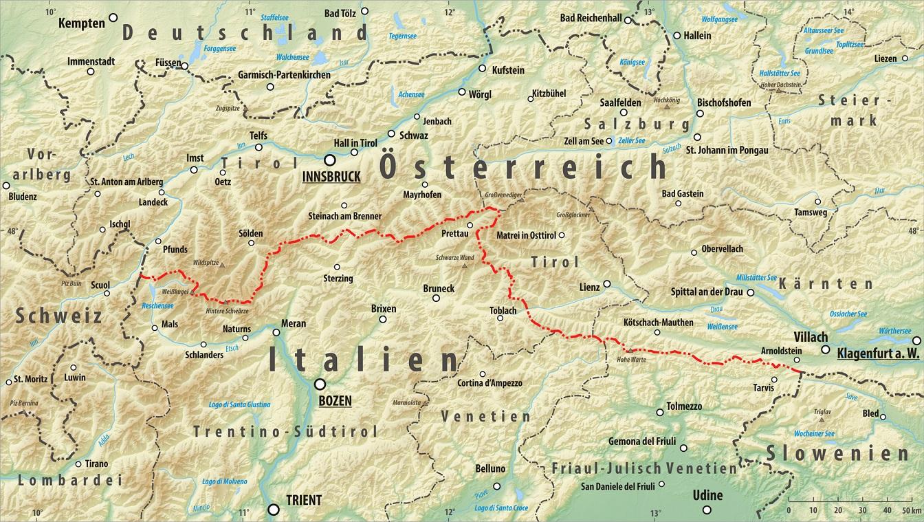Reliëfkaart Oostenrijk