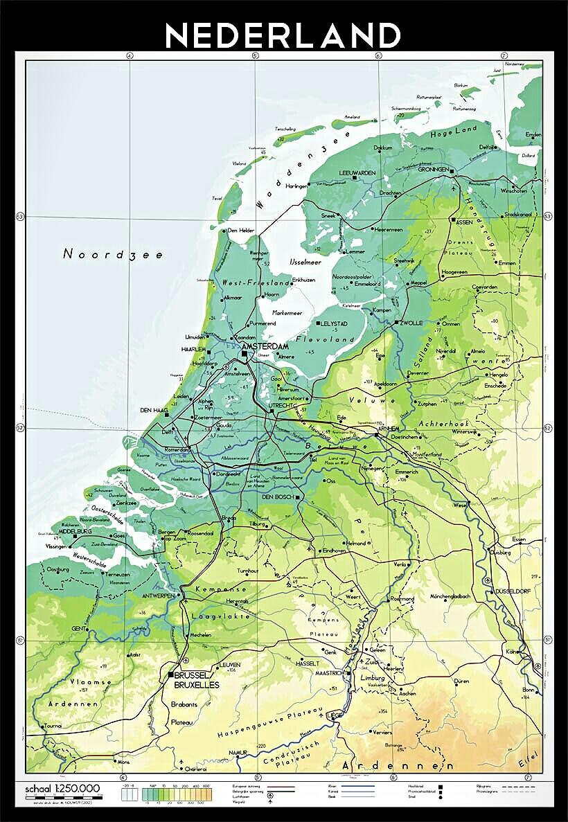 Reliefkaart Nederland